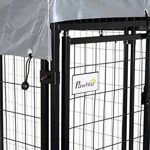 PawHut 97'' x 46'' Outdoor Galvanized Metal Dog Kennel Playpen with UV and Water Resistant Tarp Cover by PawHut (Image #5)