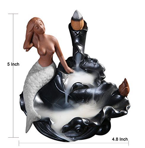 Mermaid Incense Burner Backflow Waterfall Censer Cones Sticks Holder-White