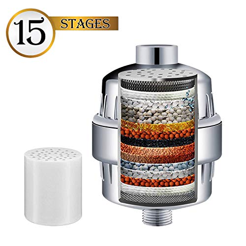 15 Stages Shower Filter, Shower Head Water Filter - NEW FORMULA Vitamin C and Coconut Shell Carbon for Remove Chlorine, Improve Skin Hair and Nails - Prefect for All Showerheads