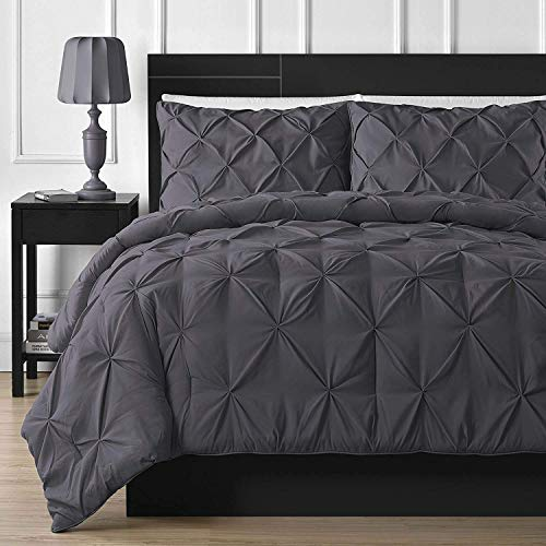 Cover Super King 108'' x 98'' Size 1pc Duvet Cover With Zipper Closure & Corner Ties, Pintuck Decorative Top Quality (100% Natural Cotton) 920 Thread Count - Dark Grey Solid ()