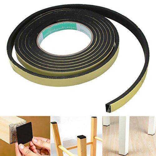 [Zevenmart Stripping Seal Sponge Rubber High Viscosity EVA Single Seal 3m Black] (Loofah Costume Materials)