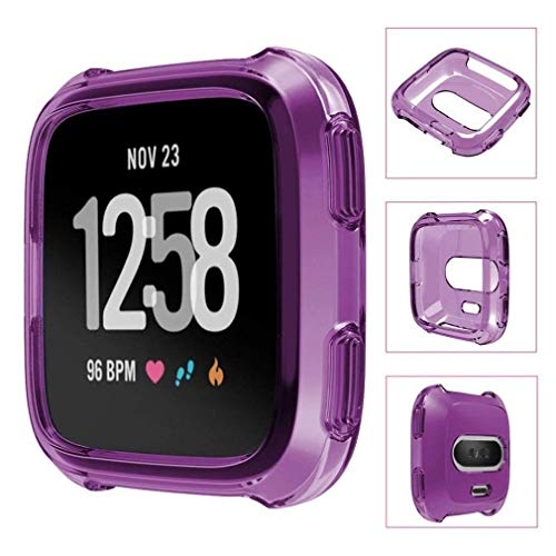 Fashion Clearance! Noopvan Fitbit Versa Protector, Soft TPU Protection Silicone Full Case Cover for Fitbit Versa (Purple) by Noopvan Strap (Image #2)