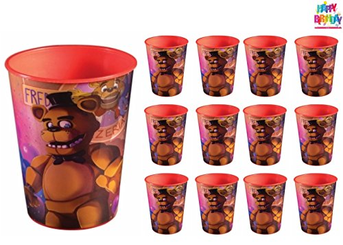 Five Nights at Freddy's Party Favor Cups Supplies - 12 Count 16 oz. Reusable Cups - 1 HeyDays Happy Birthday Tattoo by HeyDays