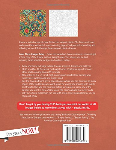 Hippie Coloring Book Peace, Love and Hippies Coloring ...