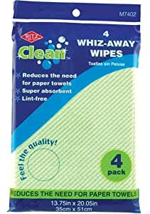 Super Absorbent & Lint Free Wipes (Reusable Paper-Towel Substitute) Pack of 4