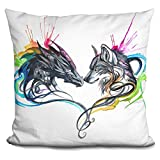 LiLiPi Dragon and Wolf Splash Ii Decorative Accent Throw Pillow