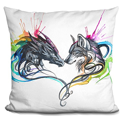 - LiLiPi Dragon and Wolf Splash Ii Decorative Accent Throw Pillow