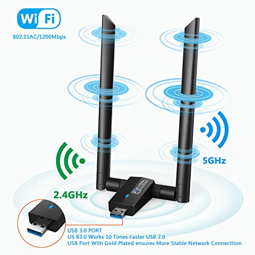 Nuoshawan 1200Mbps Long Range USB WiFi Adapter;Dual-Band 2 X 5dBi Wi-Fi Antennas with 5GHz 867Mbps/2.4GHz 300Mbps; USB 3.0, Compatible with Laptop PC Windows 10/8.1/8/7/XP and OS X (AC1200MBPS) by Nuoshawan (Image #4)