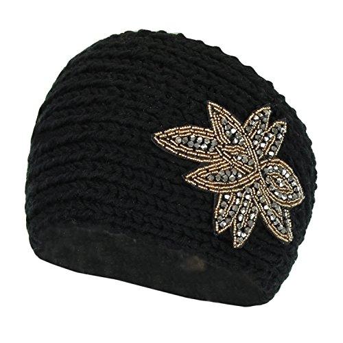 black-beaded-leaf-winter-knit-ear-warmer-headband-warm-adjustable-headwrap