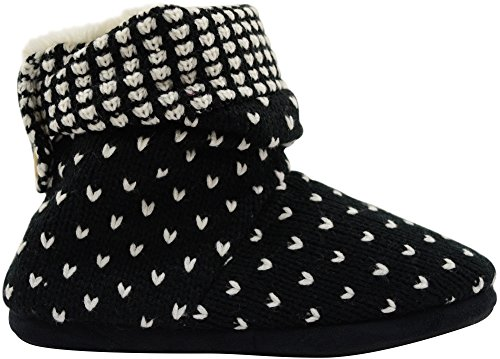 Ladies / Womens Knitted Styled Boots / Bootie Slippers with Faux Fur Inners Black 2zjcaX