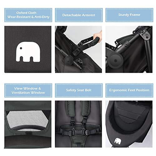 515emJ4cFtL - Meinkind Baby Stroller, Foldable Jogger Stroller Lightweight Baby Strollers 3-Wheels Running Stroller Travel Stroller With Canopy, Snack Tray, 5-Point Safety Belt, Storage Basket, Up To 33lbs Toddler