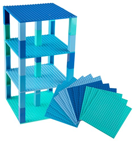 "Free Premium Blue, Turquoise, Robin's Egg, Sky Blue Stackable Base Plates - 12 Pack 6"" x 6"" Baseplate Bundle with 100 New and Improved 2x2 Stackers - Compatible with All Major Brands"