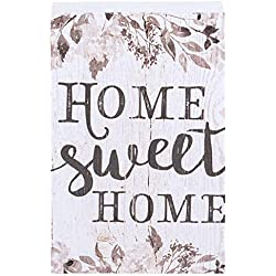 P. Graham Dunn Home Sweet Home Grey Floral White 4 x 5 Inch Solid Pine Wood Barnhouse Block Sign