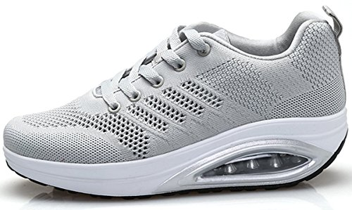 XMeden Women's Comfortable Platform Walking Sneakers Lightweight Casual Tennis Air Fitness Shoes All Gray RvVXs