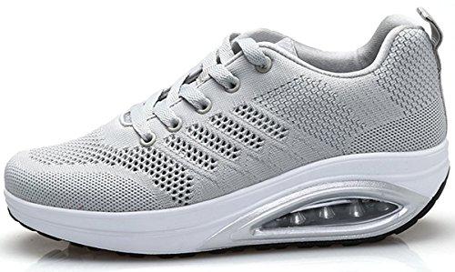 XMeden Women's Comfortable Platform Walking Sneakers Lightweight Casual Tennis Air Fitness Shoes All Gray aJnZYa