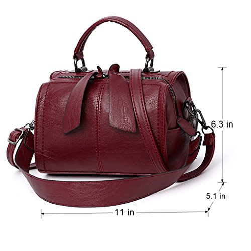 Mn Small Crossbody Purse Leather Top Handbag Lady Boston Design Red PU Bag Barrel Satchel Women Handle amp;Sue Wine FEZxOwrqFA