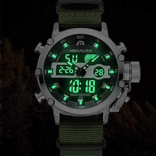 MEGALITH Mens Sports Watches Military Digital Gents Watch Chronograph Waterproof Wrist Watches for Man Boys Kids with Led Backlight Analog Quartz Multifunction Cool Watches Alarm Stopwatch Calendar WeeklyReviewer