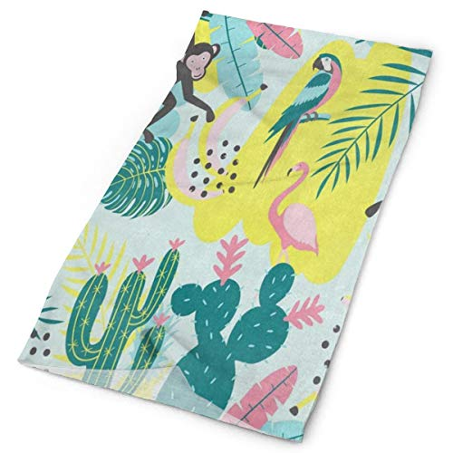 Headband Tropical Flamingo Bird Monkey Cactus Palm Tree Banana Outdoor Scarf Mask Neck Gaiter Head Wrap Sweatband Sports Headwear