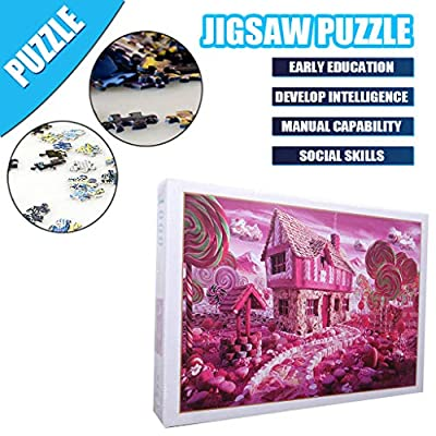 Jigsaw Puzzles 1000 Pieces Puzzles for Adults Children Pink Candy Kingdom Painting, Landscape Pattern 38 x 26cm/ 14.96 x 10.24inch Puzzles for Adults or Kids 8 and up Ages: Toys & Games