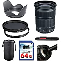 Canon EF 24-105mm f/3.5-5.6 IS STM Lens Bundle + UV Filter + Polarizer Filter + 2 In 1 Lens Cleaning Pen + High Speed 64GB Memory Card + Tulip Hood + Deluxe Lens Case
