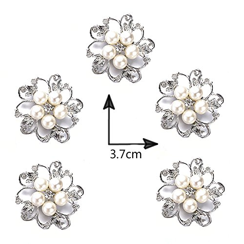 Pearl Womens Brooch - Ezing 5pcs White Faux Pearl Flower Brooch Round Shape (b)
