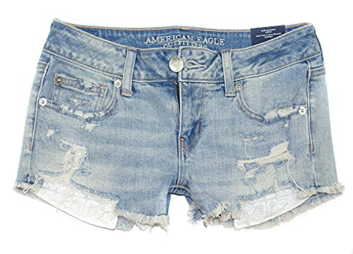 American Eagle Women's Super Low Rise Shortie Shorts W-24 (12, 4763 Lace Pocket)