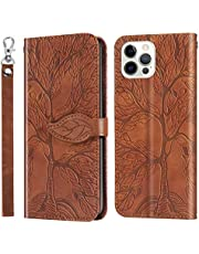 Miagon Embossing Cover for iPhone 11 Pro,Wallet PU Leather Magnetic Flip Case Tree Pattern Case Card Slots with Stand,Brown