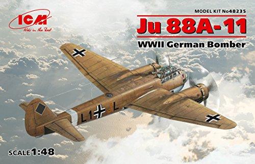 PLASTIC MODEL BUILDING AIRPLANE JU 88A-11, WWII GERMAN BOMBER 1/48 ICM 48235