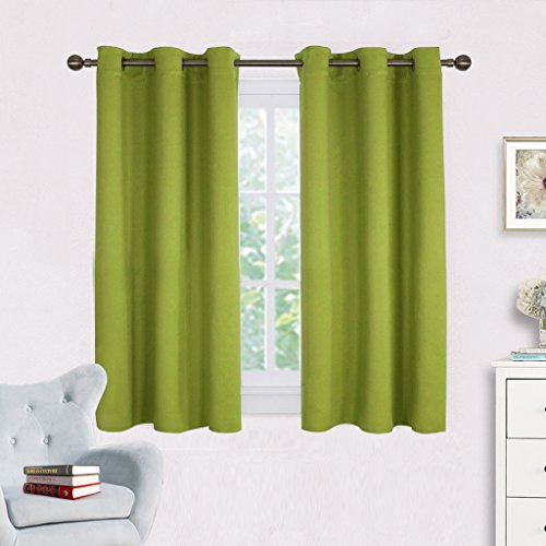 NICETOWN Green Blackout Curtains Window Panels, Window Treatment Thermal Insulated Solid Grommet Blackout Draperies/Drapes for Bedroom (Set of 2 Panels,42 by 54 Long, Fresh Green) (Curtains Green Lime Drapes)