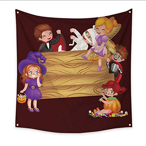 Anniutwo Tapestry Black Cute Colorful Halloween Kids in Costume for Party Set Isolated Blanket Home Room Wall Decor 32W x 32L Inch -