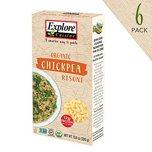 Explore Cuisine Organic Chickpea Risoni (6 Pack) - 10.6 oz - High Protein Gluten Free Pasta - USDA Certified Organic, Vegan, Kosher, Non GMO - 30 Total Servings (Rice Orzo)