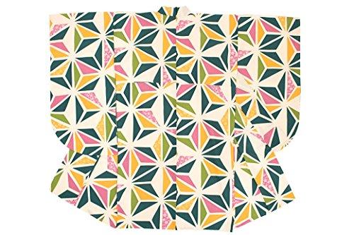 袴用二尺袖着物 bonheur saisons(ボヌールセゾン) 緑系 グリーン 黄色 ピンク 麻の葉 梅 椿 桜 菊紗綾形 レトロモダン 小振袖 卒業式 女性 レディース 仕立て上がり