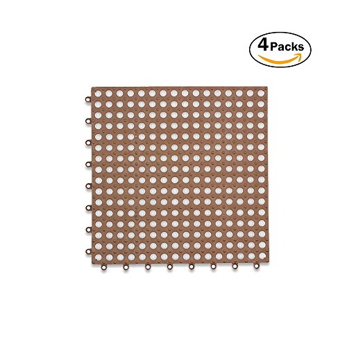 ALL PRIDE Brown Non-Slip Stitching Bath Mat Set with Massage for Bathroom Anti Slip as Floor Decoration Accessory Mosaic PE 11.81 x 11.81 inch 4PCS