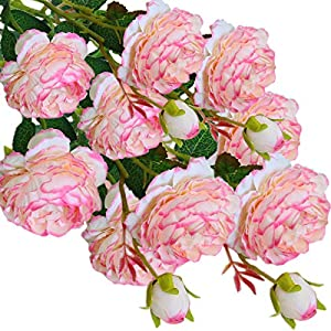 cn-Knight Artificial Flower 8pcs 24'' Silk Peony Long Stem with 2 Blossoms and 1 Bud Faux Flower for Wedding Bridal Bouquet Bridesmaid Home Décor Office Baby Shower Centerpiece(Pink-Edge White) 19