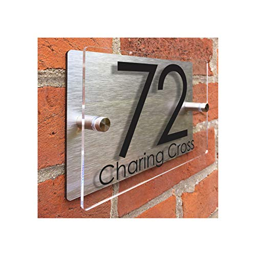 "ThedisplayDeal Modern House Numbers, 8""x5""x1"" Rectangular Clear Acrylic Front and Brushed Aluminum Back Double Panel - Home Address Door Number (Rectangular-Clear Acrylic)"