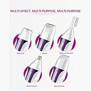 Painless Hair Remover for Women 5 in 1 Rechargeable Razors Portable Waterproof Hair Removal Epilator for Face/Legs/Arms/Eyebrow/Nose/Bikini Trimmer Body Shaver for Ladies (Purple)-2018 Exclusive