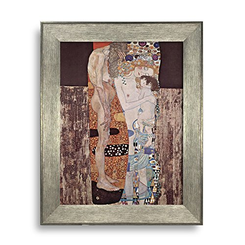 The Three Ages of Woman by Gustav Klimt Framed Art Print Famous Painting Wall Decor Silver Frame