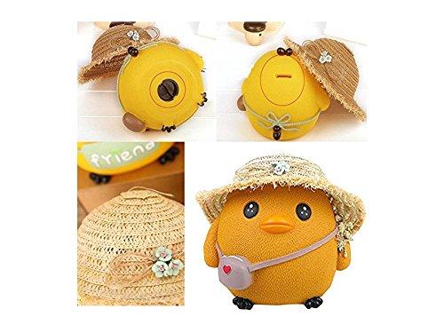 Hezon Cute Yellow Chicken Piggy Bank Cartoon Straw Hat Chickens Money Saving Bank(Yellow) EASY TO USE