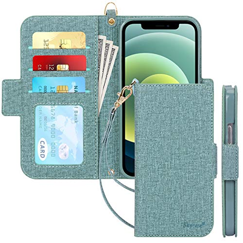 "Skycase Compatible for iPhone 12 Case/Compatible for iPhone 12 Pro Case 5G,[RFID Blocking] Handmade Flip Folio Wallet Case with Card Slots and Detachable Hand Strap for iPhone 12/12 Pro 6.1"" 2020"