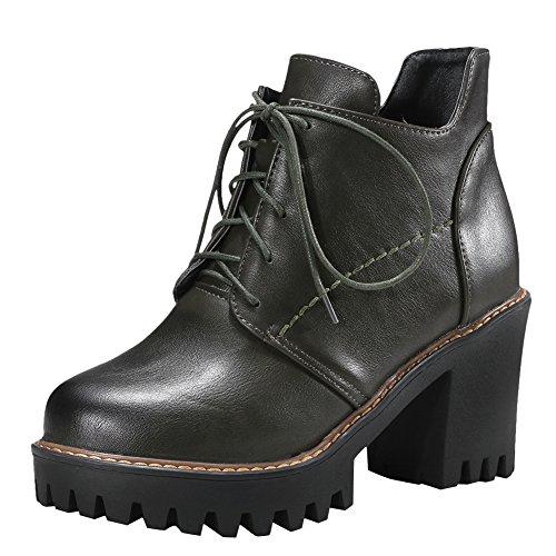 Carolbar Womens Fashion Comfort Platform Chunky Tacco Alto Oxford Stivali Verde Intenso