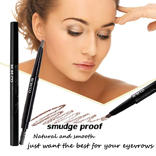 Long Lasting Sweat Proof Smudge Proof Eyebrow Pencil Waterproof Brow Liner Drawing Eye Brow with Brush Automatic Makeup Cosmetic Tool (Brown)