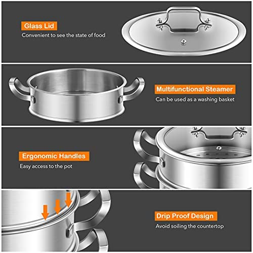 515epKAKjUS. AC COSTWAY 3-Tier Stainless Steel Steamer for Cooking, Boiler Pot with Handles on Both Sides, Transparent Tempered Glass Lid, Free Combination Design, for Induction, Radiant-Tube Furnace    Product Description