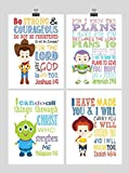 Christian Toy Story Nursery Decor Art Print Set of 4 - Woody, Buzz Lightyear, Jesse and Alien - Multiple Sizes