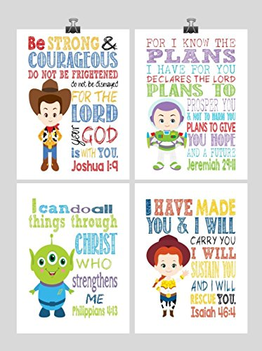 Christian Toy Story Nursery Decor Art Print Set of 4 - Woody, Buzz Lightyear, Jesse and Alien - Multiple Sizes by Pixie Paper
