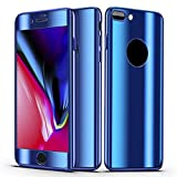Slim Full Body Hybrid Hard Case For iPhone 8 Plus,With 9H Tempered Glass (Blue)