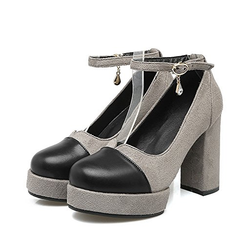 Odomolor Women's Round-Toe High-Heels Frosted Solid Buckle Pumps-Shoes, Gray, 39