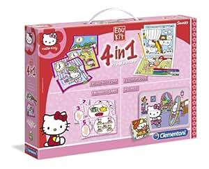Clementoni 13776 Edukit - Juego de puzzles y juegos infantiles (4 en 1), diseño de Hello Kitty