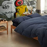 Cotton Pure™ Prussian Blue Jersey Cotton Quilt Cover [Queen]