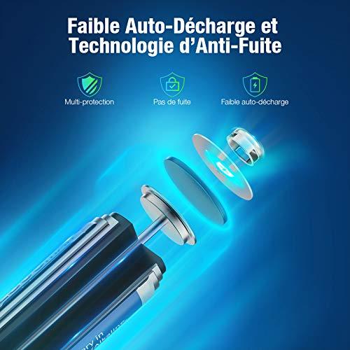 POWXS Piles AA Rechargeables, Ni-MH 2800mAh 1,2V (Lot de 16), Haute Capacité, AA Mignon LR6, Accu avec Protection Multiple, 1500+ Cycles, Batteries AA Rechargeables Durables avec Boîte à Piles