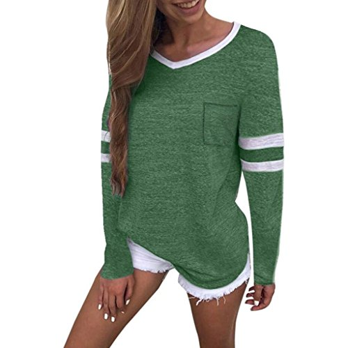 JOFOW Women's Autumn Casual Long Sleeve Solid Cotton V Neck Loose Blouses Tops (M,Green) from JOFOW